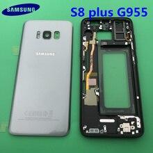 Orijinal yeni tam konut Case arka kapak + ön ekran cam Lens + orta çerçeve Samsung Galaxy S8 kenar G955 G955F komple parçaları
