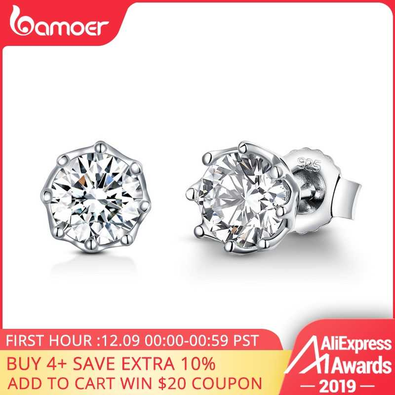 BAMOER Authentic 925 Sterling Silver Classic Clear Cubic Zircon Small Stud Earrings for Women Sterling Silver Jewelry SCE499