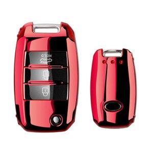 Image 2 - Protezione della copertura della chiave dellautomobile pieghevole in TPU per KIA Sid Rio Soul Sportage Ceed Sorento CeratoK2 K3 K4 K5 custodia remota proteggi portachiavi