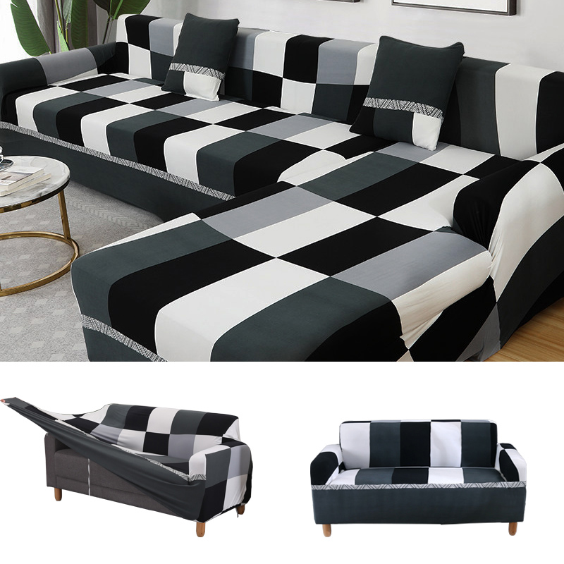 1 2 3 4 seat black and white sofa covers for living room couch cover sofa