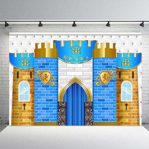 Королевский принц, синий замок, первый день рождения, фотографии, фон, мальчик, первый день рождения, детский душ, Вечерние Декорации, фоны дл...
