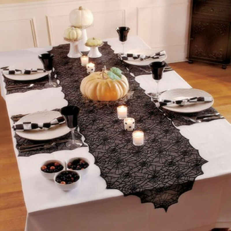 Mantel de noche de Halloween mantel de tela de encaje bordado negro mantel de tela para fiesta de banquete decoración del hogar mantel