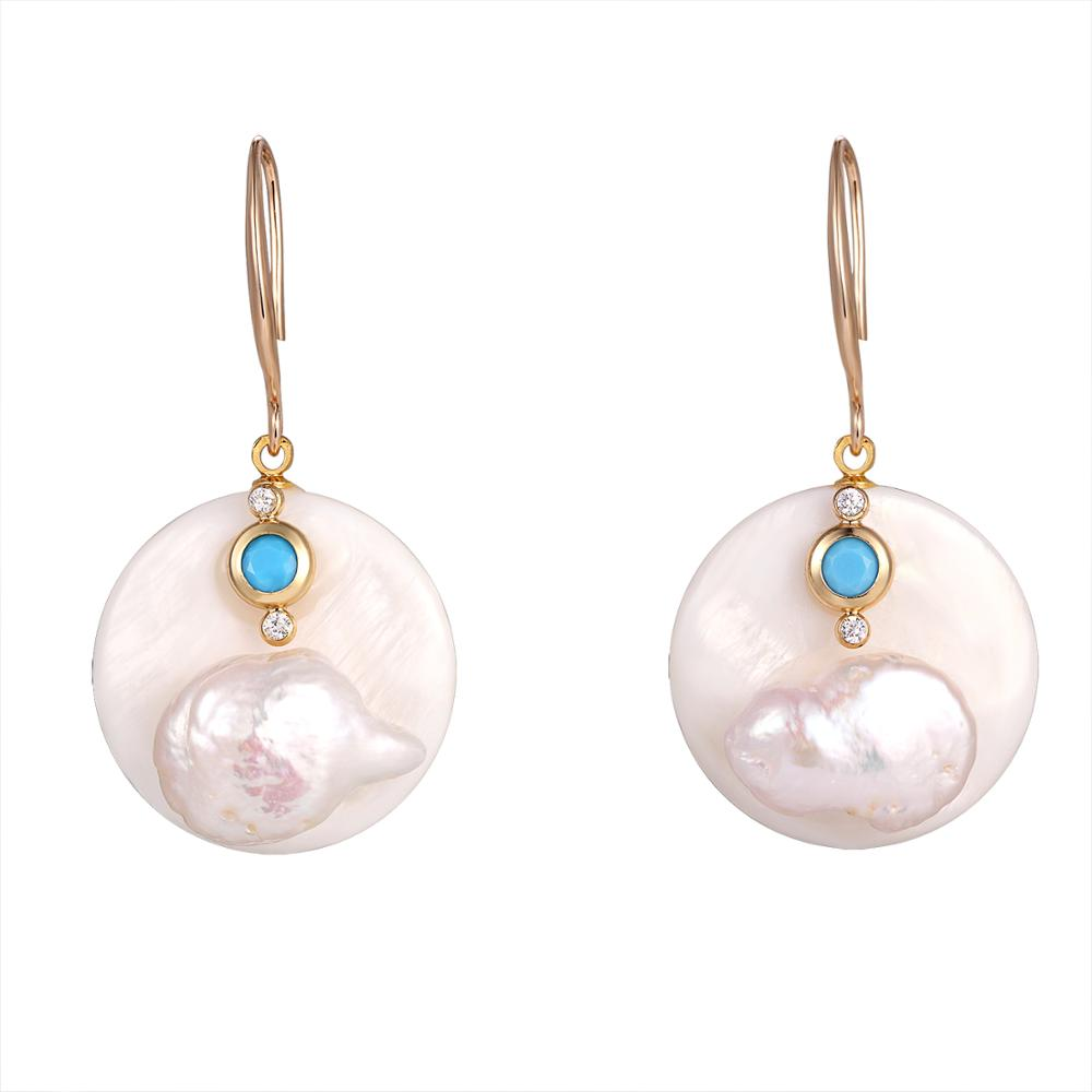 YMSHIPIN Natural Freshwater Pearl Drop Earrings Jewelry 2019 Round Cubic Zircon Dangle Earrings For Women Wedding Jewelry