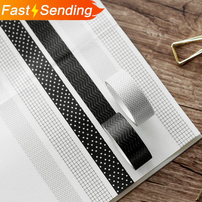 JIANWU 1pc 15mmX5m Black & White Series Foundation Washi Tape Notebook Decoration Scrapbook DIY Office Articles And Stationery