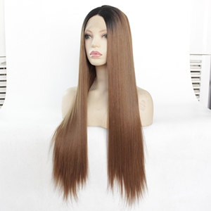"""Image 2 - MRWIG  12 28"""" Natural Straight Synthetic Hair High Temperature Fiber Heat Resistant Glueless Front Lace Wig Middle Part"""