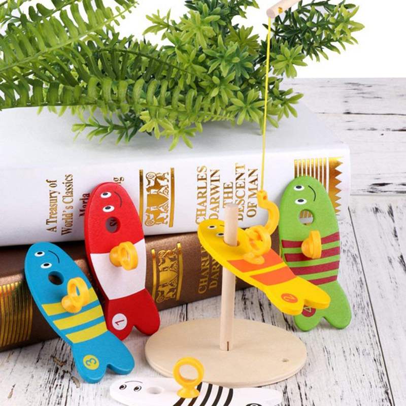 8Pcs Colorful Wooden Toys Fishing Digital Toys For Kids Fish Set Column Bricks Game Children Cute Early Educational Cartoon Toy