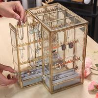 Jewelry Storage Box Hanging Necklace Organizer Drawing pull Type Case Dust proof Jewelry Holder For Earrings Necklace