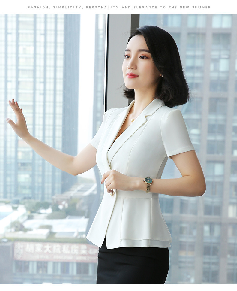 Black White Formal Elegant Uniform Styles Blazers Suits Two Piece with Tops and Skirt for Ladies Office Work Wear Jacket Sets