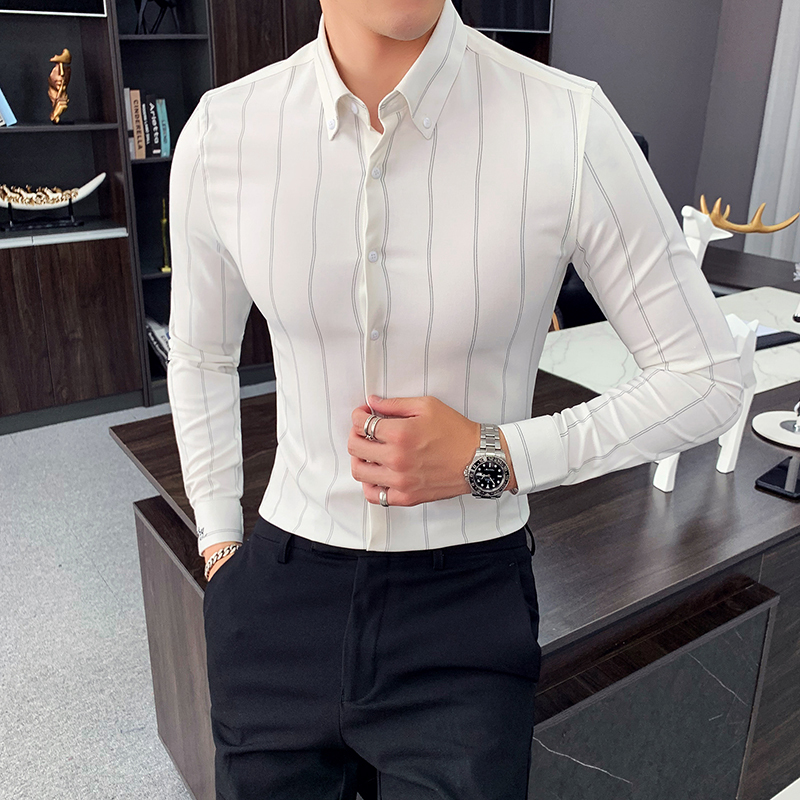 High Quality Men Dress Shirt Long Sleeve Vertical Stripes Shirt Men Slim Fit 2020 Casual Formal Wear Business Shirts Men Clothes