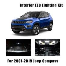 10 lâmpadas canbus branco led carro mapa dome luz interior kit apto para jeep compass 2007-2017 2018 2019 tronco lâmpada de licença de carga