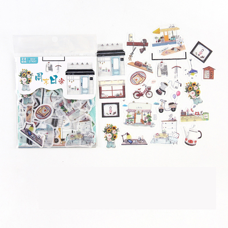 40 pcs /Pack Leisurely Weekend Life Adhensive Stickers Decorative Album Diary Hand Account Decor
