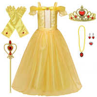 Yellow Girls Princess Costume For Kids Birthday Present Baby Dress Halloween Party Cosplay Dress Up Children Princess Gold Dress