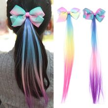 Children Bow Gradient Wig Color Hairpin Streamer Top Clip Princess Girls Hair Accessories Head Flowers bow style wig decorative hair clip golden l