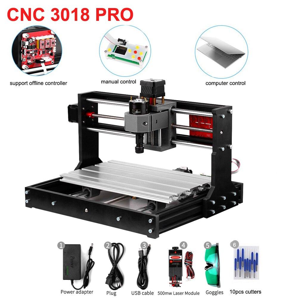 CNC 3018 Pro GRBL contrôle Mini CNC Machine de gravure Laser routeur bois graveur Laser + ER11 + 5mm outil de menuiserie de tige d'extension