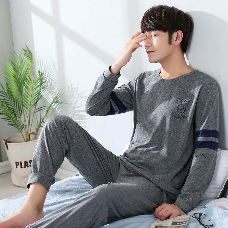 Men's Pajamas Set Autumn Winter Long Sleeve Male Pyjamas Set Cotton Sleepwear Men's Nightwear Top Loose Elastic Pants Outwear