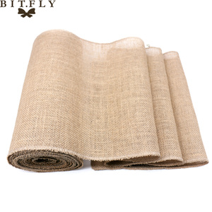 Image 3 - 1pcs Natural Hessian Jute Burlap Table Runner   Wedding Stand Arch Chair Sashes Decoration Birthday Banquet Event Party Supply