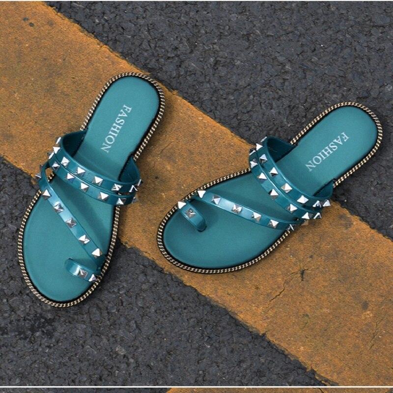 My-Love Women Slippers Sandals Beach Slides Bling Rivet Soft Sole Toes Flip Flops Non-slip Rhinestones Women Slides Flat Shoes