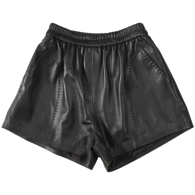 2020 Autumn New Sheepskin Shorts  Leather Shorts High Waist Elastic Waist Loose Boots  Women Shorts Women