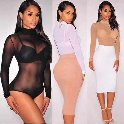Quente uma peça pura collant transparente sexy malha bodysuit 5 cor manga longa macacão feminino uma peça roupa interior