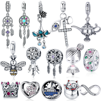 BISAER Hot Sale 925 Sterling Silver Heart Star Princess Crown Bowknot Dream Catcher Charms Beads fit Jewelry Making