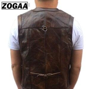 Image 4 - ZOGAA Vest Heren Lederen Vest Echte Leer Motorfiets Vest Met Veel Zakken Fotografie Vest Mouwloze Jas