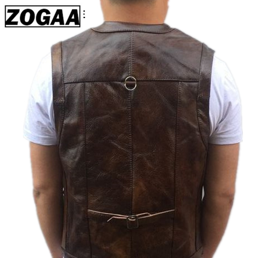 Image 4 - ZOGAA Vest Mens Leather Waistcoat Real Leather Motorcycle Vest With Many Pockets Photography Vest Sleeveless Jacket-in Vests & Waistcoats from Men's Clothing