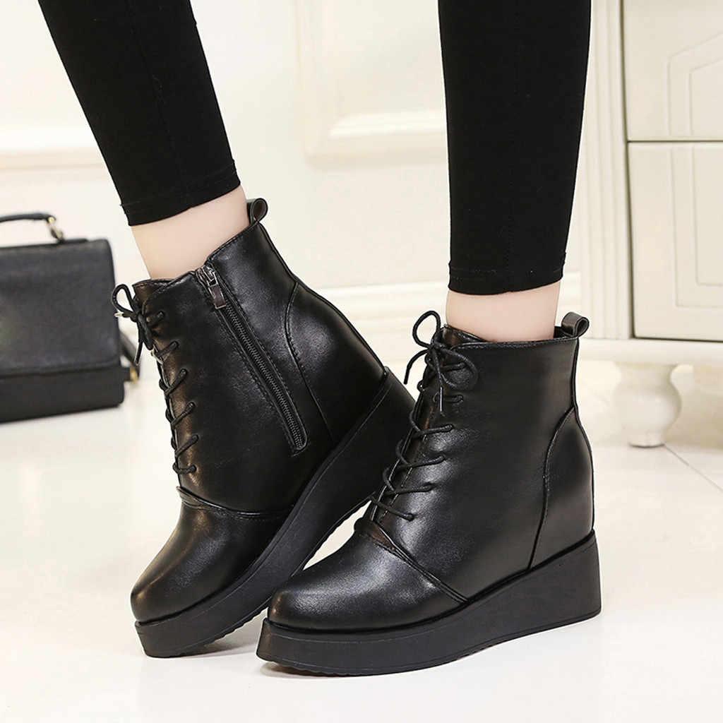 SAGCE 2019 ผู้หญิงแพลตฟอร์มกันน้ำรองเท้าความสูงฤดูหนาวรองเท้าสีดำเซ็กซี่สายคล้องผ้ารองเท้าผู้หญิงขนาด 34-39