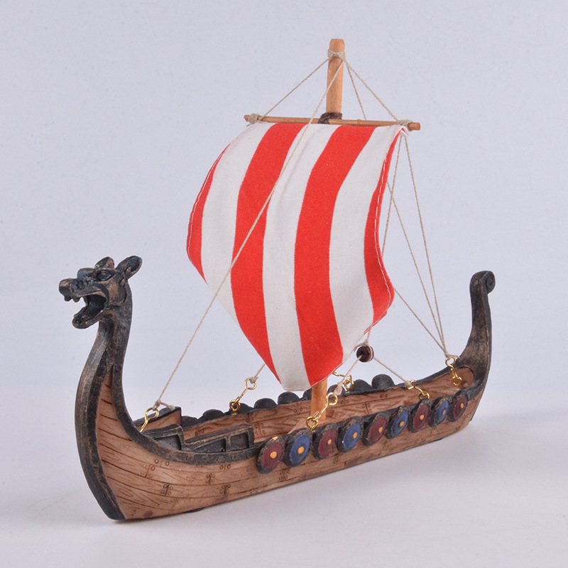 Viking Longship Dragon Boat Ornaments Carved Resin Craft Home Decorations Vikings Ships Sailing Model Toy Gifts 25.5x17.5x5.5cm