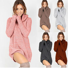 Hot Sale Fashion Autumn Spring Winter Women Casual Turtleneck Pullover Long Knitted Oversize Sleeve Sweaters Dresses