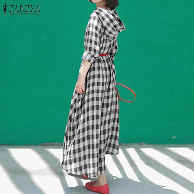 ZANZEA נשים בציר ארוך מקסי שמלת 2020 גבירותיי ארוך שרוול בוהמי Vestidos מזדמן משובץ לבדוק שמלות חוף המפלגה שמלה קיצית