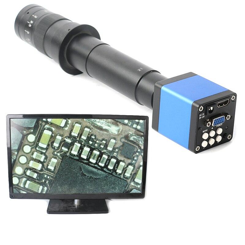 14MP 1080P numérique vidéo HDMI Microscope caméra + 130X/180X/300X C monture lentille pour PCB soudure réparation double affichage sortie