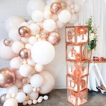 Staraise rosa ouro transparente caixas de balão noiva a ser festa decoração balões para noivado festa de casamento