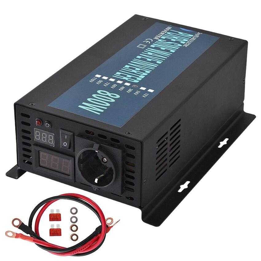 New RBP-800S 800W 12V/24V/36V/48V/60V to 220V Pure Sine Wave Inverter Converter Home Power Supply Solar Power Generator Inverter