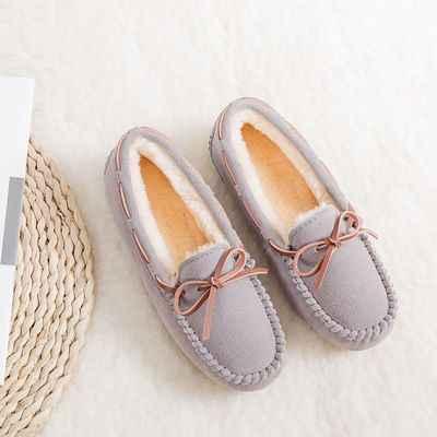 Mùa Đông Giày Nữ Đơn Giản Thoải Lông Cho Nữ Slip On Nữ Da Bò Da Lộn Đế Giày Mộc Mạch Trà Nữ Bướm- nút Thắt Size 35-43