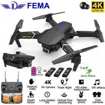 FEMA E525 FPV WiFi Drone with HD Camera 4K/ 1080P Wide Angle Auto Follow Foldable RC Quadcopter Altitude Hold Mini Dron VS E520s цена 2017