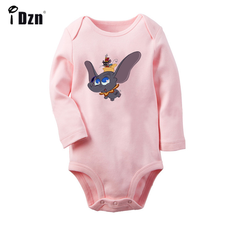 Cartoon Pink Dumbo Cute Elephant And Mouse UFO Alien FACE Newborn Baby Bodysuit Toddler Onesies Jumpsuit Cotton Clothes Gift
