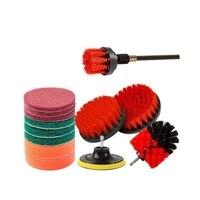 14 peças conjunto de acessórios de escova de broca  vermelho esfrega almofadas & esponja  escova de purificador de energia com estender longo acessório para todos os fins limpo Escovas de limpeza     -