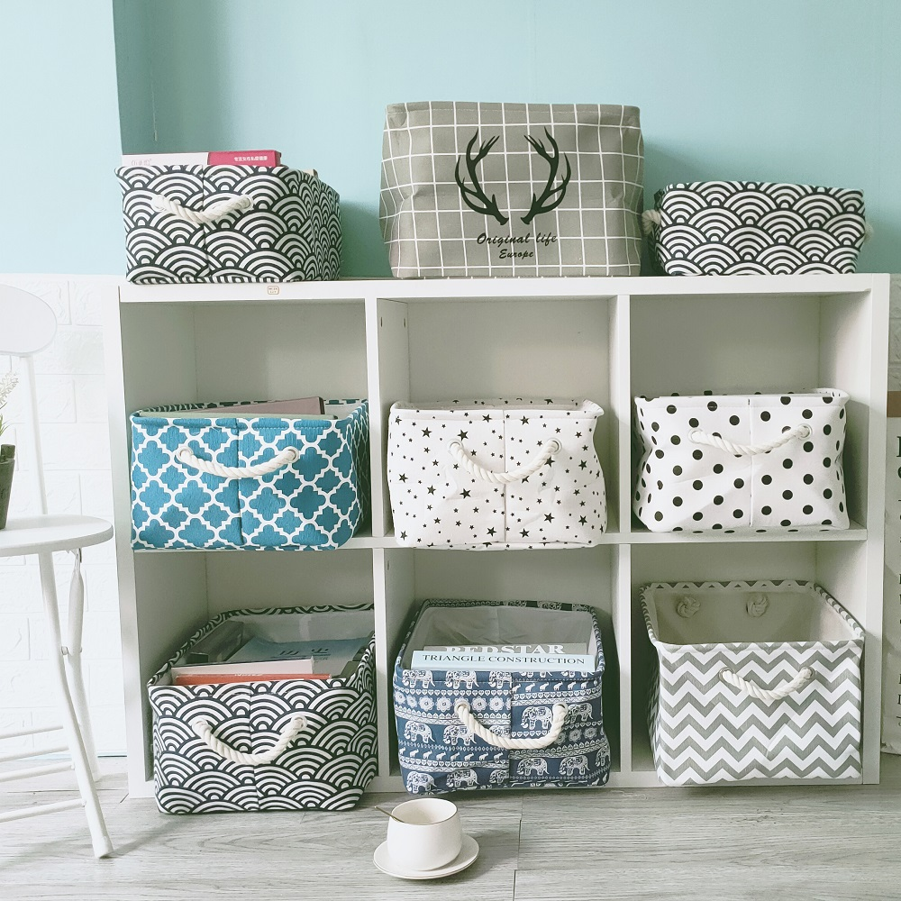 New Large Folding Linen Fabric Storage Basket Kids Toys Storage Box Clothes Storage Bag Organizer Holder With Handle