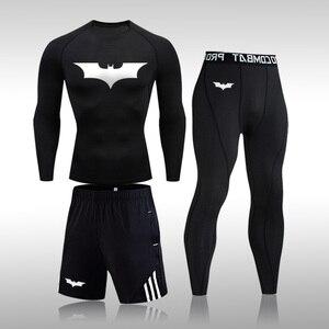 Quick Dry Men's Training Sportswear Gym Fitness Compression Sport Suit Jogging Tight Sports Wear Clothes Batman Male 3 Pcs/Set