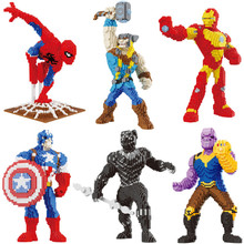 цена Marvel Avengers DIY Building Diamond Blocks Toy Super hero Iron Man Spiderman Thunder Thor Captain America Black Panther онлайн в 2017 году