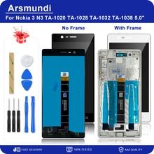 """עבור Nokia 3 N3 TA 1020 TA 1028 TA 1032 TA 1038 5.0 """"LCD תצוגה מגע Digitizer מסך + מסגרת עבור Nokia3 צגי Lcd + מתנה"""