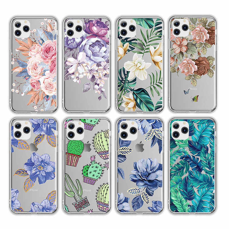 Lovebay Transparent Retro Leaves Flowers Phone Case For iPhone 11 Pro X XR XS Max 7 8 6 6s Plus 5s SE Cactus Soft TPU Back Cover