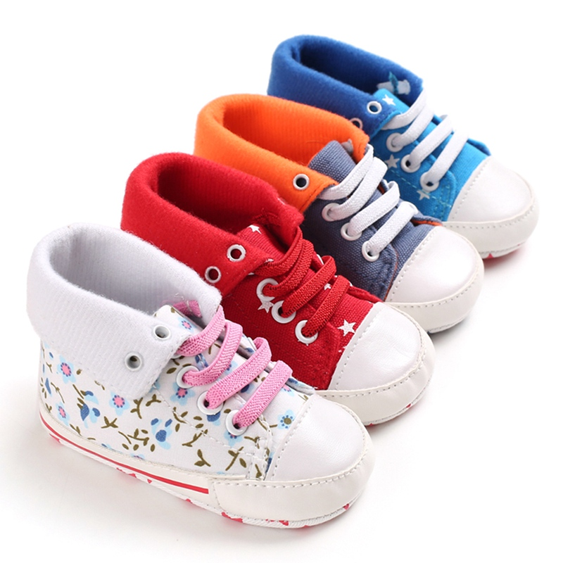 Autumn Winter Infant Baby Boy Classic Pattern Canvas Cuff Shoes Soft Sole PU Leather First Walkers Crib Shoes 0-18 Months New
