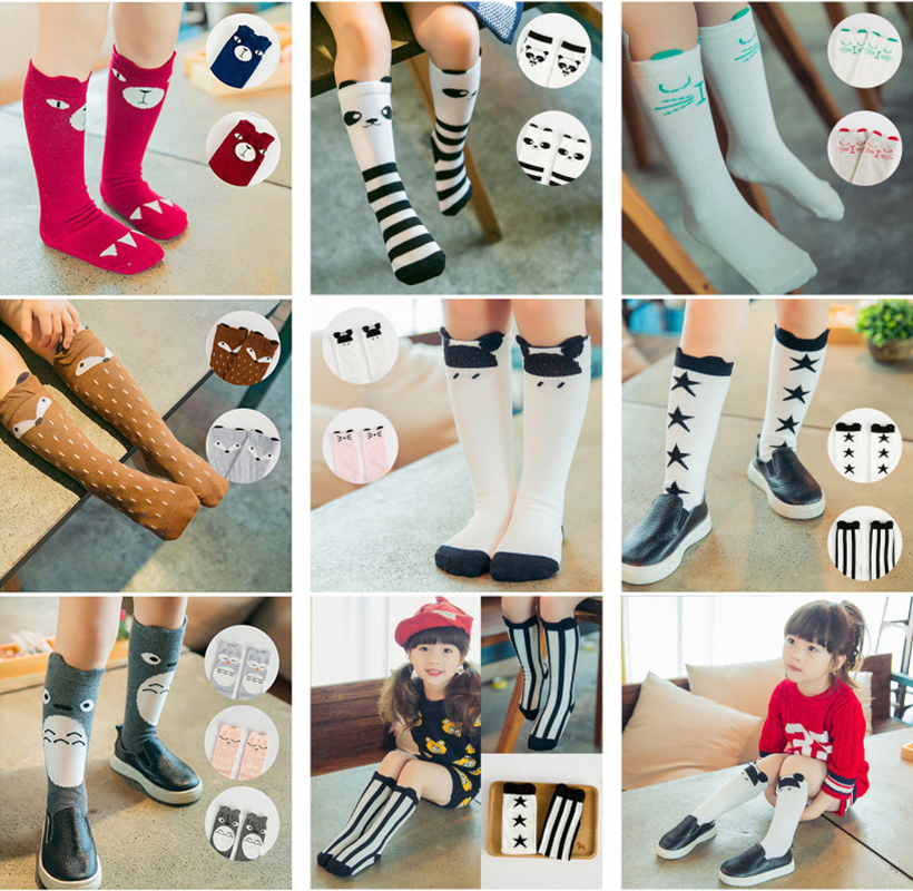Kids Socks 0-6 Baby-Boy-Girls Knee-High Lovely Legwarmers Animal-Design Long Cartoon title=