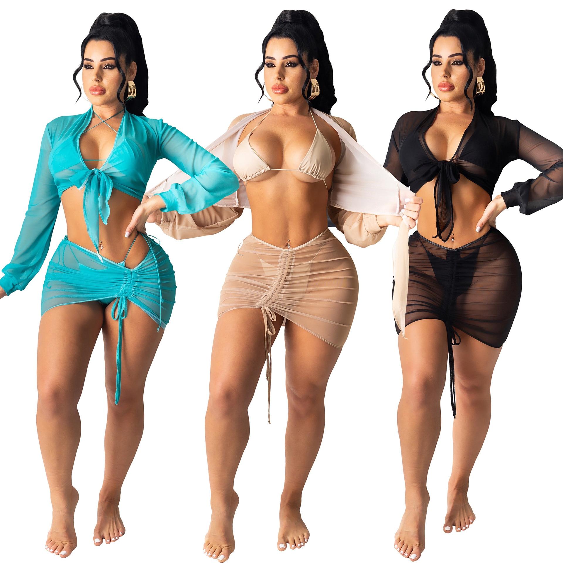 Пляжная накидка Oluolin для женщин, комплект из 2 предметов: футболка и мини-юбка, летний однотонный купальник, купальный костюм с драпировкой, ...