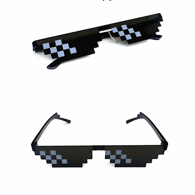 New Mosaic Strips Sunglasses Trick Toy Thug Life Glasses Deal With It Glasses Pixel Women Men Black Mosaic Sunglasses Funny toy(China)