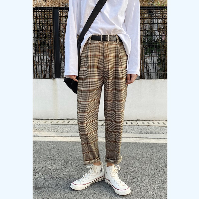 Korean Men Plaid Pants Ankle Length Straight Breathable 2020 Spring Summer Fashion Streetwear Causal Loose Thin Trousers Male