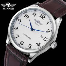 WINNER reloj de vestir oficial para hombre, indicador de fecha mecánico automático, correa de cuero genuino marrón, reloj de pulsera minimalista para hombre