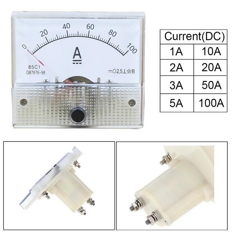 DC Пластик аналоговые стрелочный Амперметр переменного тока Amp Панель 1 шт. 1A 2A 3A 5A 10A 20A 50A 100A механические измерители тока 64*56 мм