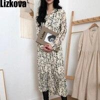 Autumn 2019 Chiffon Floral Dress Korean Style Elegant Long Sleeve Dress Sweet Girls Pleated Long Flower Dress